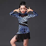 Latin Dance Dresses Performance Milk Fiber Animal Print Long Sleeve Dress