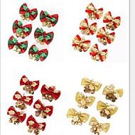 6pcs / set rode kerst leuke boog boom hangen decoratie xmas strik ornament metalen kerstmis klok 5 * 4 cm