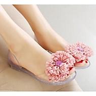 baratos Sapatos Femininos-Mulheres Sapatos PVC Plástico Sandálias Heel translúcido Azul / Rosa claro