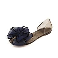 baratos Sapatos Femininos-Mulheres Sapatos PVC Verão Conforto Sandálias Sem Salto / Heel translúcido Flor Branco / Preto