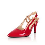 tanie Small Size Shoes-Damskie Skóra patentowa Wiosna / Lato Wygoda Szpilki Spacery Szpilka Nasek w szpic Materiały łączone Czarny / Czerwony / Ślub / Impreza / bankiet / Impreza / bankiet