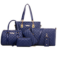 Mulher Bolsas Todas as Estações material especial Conjuntos de saco Tachas para Formal Dourado Branco Preto Café Azul