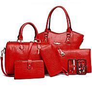 baratos -Mulher Bolsas Todas as Estações material especial Conjuntos de saco 6 Pcs Purse Set para Formal Preto Amarelo Fúcsia Vermelho Azul