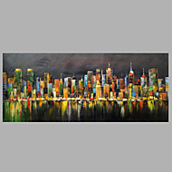 Hand-Painted Abstract & Modern Oil Painting Cityscape Oil Painting with Stretched One Panel Canvas Oil Painting