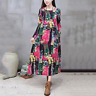 Feminino Solto Vestido, Casual Moda de Rua Temática Asiática Estampado Decote Redondo Longo Manga Longa Vermelho Algodão LinhoPrimavera