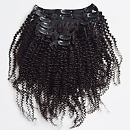 New Brazilian 100% Human Hair Clip Ins Afro Kinky Curly Clip Ins Extensions In Hair Weaves Natural Black Color 7 pcs/set