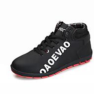 cheap Black High Tops-Men's Athletic Shoes Comfort PU Fall Winter Casual Comfort Lace-up Flat Heel Black Dark Blue Gray Ruby Flat