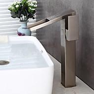 billige Rabatt Kraner-Baderom Sink Tappekran - Forskyll / Foss / Utbredt Nikkel Børstet Centersat Enkelt håndtak To Huller