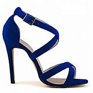 baratos Sapatos Femininos-Mulheres Sandálias cruzadas Tecido Verão / Outono Salto Agulha Azul / Nú / Azul Real / Festas & Noite / Festas & Noite