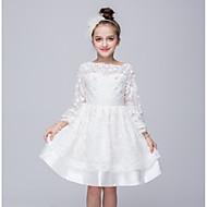 เด็ก เด็กผู้หญิง ไปเที่ยว สีพื้น แขนยาว เส้นใยสังเคราะห์ กระโปรงชุด ขาว