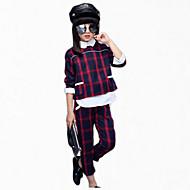 Djevojčice Pamuk Karirani uzorak Dnevno Sva doba Dugih rukava Komplet odjeće Karirani uzorak Crvena Zelen