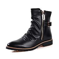 Men's Boots Fall Winter Comfort PU Casual Flat Heel Zipper Black Walking