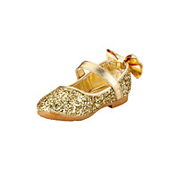 cheap Girls' Shoes-Girl's Flats Spring Summer Fall Flower Girl Shoes Glitter Wedding Outdoor Party & Evening Dress Casual Flat Heel Bowknot Gold Sliver