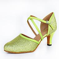 """billige Moderne sko-Dame Latin Glimtende Glitter Sateng Lær Høye hæler Innendørs Ytelse utendørs Nybegynner Trening Gummi Spenne Kustomisert hæl Grønn 2 """"- 2"""