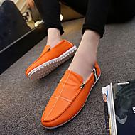 baratos Sapatos Masculinos-Homens Couro Ecológico Primavera / Outono Conforto Mocassins e Slip-Ons Branco / Preto / Laranja