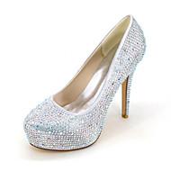 baratos Sapatos de Noiva-Feminino-SaltosSalto Agulha-Prateado Vermelho Azul Champanhe Ivory-Seda-Casamento Festas & Noite