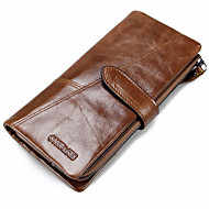 Men Bags Cowhide Checkbook Wallet for Shopping Casual Sports Outdoor Office & Career All Seasons Black Coffee Brown