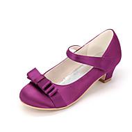 baratos Sapatos de Menina-Para Meninas Sapatos Seda Primavera Verão Sapatos para Daminhas de Honra Saltos Laço para Rosa claro / Champanhe / Ivory / Casamento