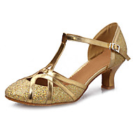 Women's Latin Paillette Leatherette Patent Leather Sandal Practice Beginner Professional Indoor Performance Buckle Cuban Heel Gold Silver