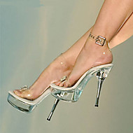 baratos Sapatos Femininos-Mulheres Sapatos PVC Verão / Outono Conforto / Inovador / Sapatos clube Sandálias Caminhada Salto Agulha Dedo Aberto Presilha Branco