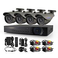 Yanse® 4ch 720p hd kablolu cctv kamera dvr kit ir su geçirmez güvenlik sistemi ev 1.0mp ahd-m