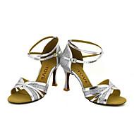 billige Sko til latindans-Kan spesialtilpasses-Dame-Dansesko-Latin Salsa-Glimtende Glitter-Kustomisert hæl-Svart Sølv Gull
