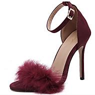 baratos Sapatos Femininos-Mulheres Sapatos Camurça Primavera / Verão Conforto / Inovador Sandálias Salto Agulha Peep Toe Penas / Presilha Preto / Rosa claro / Vinho