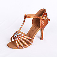 "Women's Latin Salsa Ballroom Satin Sandal Rhinestone Flared Heel Brown 2"" - 2 3/4"" Non Customizable"