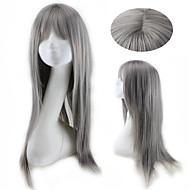 Syntetiska peruker Rak Stil Utan lock Peruk Grå Grå Syntetiskt hår Dam Grå Peruk Naturlig peruk