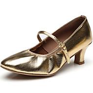 billige Moderne sko-Dame Jazz Lær Høye hæler Trening Nybegynner Innendørs Utendørs Opptreden Spenne Flat hæl Gull Svart Sølv 5 cm Kan spesialtilpasses