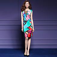 Dame Gade / Sofistikerede Plusstørrelser Tynd Bukser - Geometrisk Trykt mønster Regnbue / Ferie / I-byen-tøj