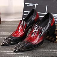 גברים נעליים עור נאפה Leather אביב קיץ סתיו חורף נוחות נעלי אוקספורד חלק קדמי מטאלי עבור חתונה קזו'אל מסיבה וערב שחור