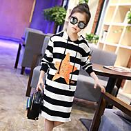 Menina de Vestido Listrado Primavera Outono Algodão Manga Longa Listras Preto Cinzento