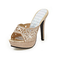 cheap -Women's Shoes Glitter / Customized Materials Spring Comfort / Club Shoes Sandals Stiletto Heel Peep Toe Buckle Gold / Silver / Wedding