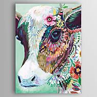 Kézzel festett Absztrakt Állat Függőleges,Modern Egy elem Vászon Hang festett olajfestmény For lakberendezési