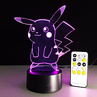 1 pc 3D Nightlight Remote Control / RC Night Vision Small Size Color-Changing Artistic LED Modern/Contemporary