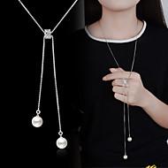 Ожерелья с подвесками Y Ожерелье длинное ожерелье Искусственный жемчуг Серебрянное покрытие Дамы Классический Мода Серебряный Ожерелье Бижутерия Назначение