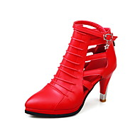 cheap Women's Shoes-Women's Shoes PU Fall Comfort Gladiator Club Shoes Fashion Boots Boots Walking Shoes Stiletto Heel Pointed Toe Rhinestone Buckle for