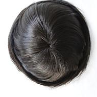 erkekler insan saçı bakire saç doğal düz 6 * 8 inç Peruksuz