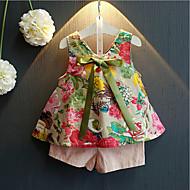 Djevojčice Pamuk Umjetna svila Dnevno Ljeto Bez rukávů Komplet odjeće Cvijetan Blushing Pink