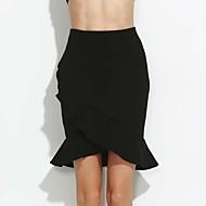 Žene Veći konfekcijski brojevi Bodycon Rad Suknje - Jednobojni, Nabori