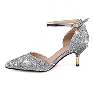 cheap Wedding Shoes-Women's Shoes Synthetic Spring Summer Fall Sandals Stiletto Heel Pointed Toe Sequin for Wedding Party & Evening Dress Gold Silver