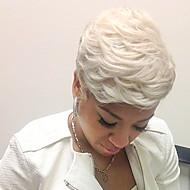 Ανθρώπινες περούκες περούκες μαλλιών Φυσικά μαλλιά Φυσικό Κυματιστό Κούρεμα νεράιδας / Με αφέλειες Κοντό Μηχανοποίητο Περούκα Γυναικεία