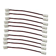 10PCS는 / 팩 스트립이 아래로 스냅 와이어 압착으로 제거하기 위해 2 핀 도체 8mm 폭 3528 2835 단일 색상 플렉스에 대한 스트립 커넥터를 주도 스트립에 8mm 주도