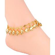 רשתות רגל קרסול של הנשים u7® זהב אמיתי / פלטינה 18k מצופות קסמי פילים חמודים סנדל ילדי תכשיטי צמידי קרסול צמידים