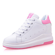 Damen-Sneaker-Outddor Büro Lässig-Leder-Keilabsatz-Creepers-Schwarz Rosa Weiß