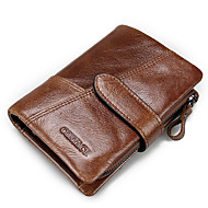 Men Bags Cowhide Wallet Ruffles for Casual Office & Career All Seasons Black Dark Coffee Brown