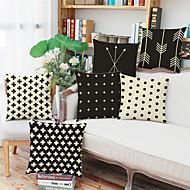 6つ 個 リネン 枕カバー,ストラップ柄 幾何学柄 水玉柄 コンテンポラリー ユーロ