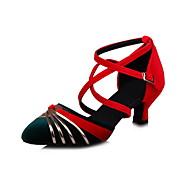 """billige Moderne sko-Dame Latin Salsa Fløyel Sandaler Ytelse Profesjonell Trening Spenne Kubansk hæl Svart Mørkegrå Grønn Blå 2 """"- 2 3/4"""" Kan ikke"""