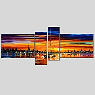 cheap Oil Paintings-Hand-Painted Abstract Horizontal Panoramic, Classic Modern Canvas Oil Painting Home Decoration Four Panels
